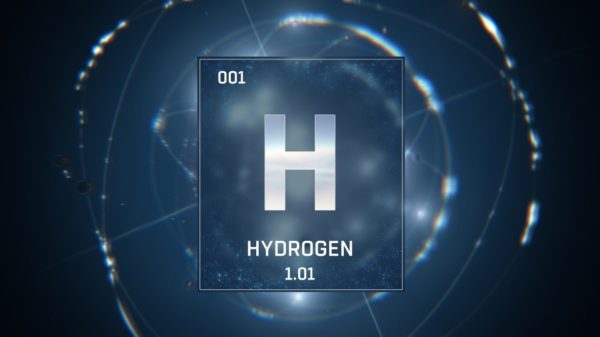 3d illustration of hydrogen as element 1 of the periodic table blue illuminated atom design
